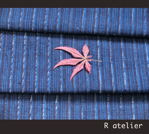 Vintage Chinese Fabric | Handwoven Cotton | Fabric By The Yard | Blue Stripe #014