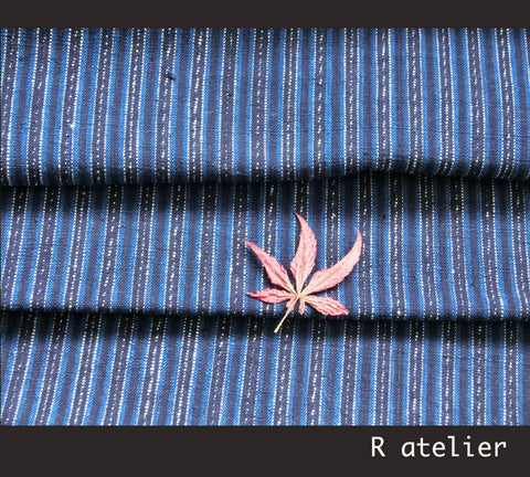 Vintage Chinese Fabric | Handwoven Cotton | Fabric By The Bolt | Blue Stripe #013