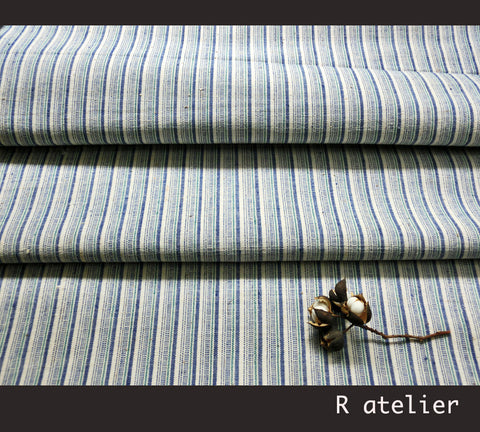 Vintage Chinese Fabric | Handwoven Cotton | Fabric By The Yard | Blue-Green Stripe #008