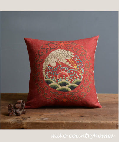 Chinoiserie Chinese Crane Pillow Cover