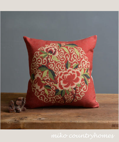 Chinoiserie Chinese Peony Pillow Cover
