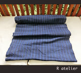 Vintage Chinese Fabric | Handwoven Cotton | Fabric By The Yard | Red-Blue Stripe #015