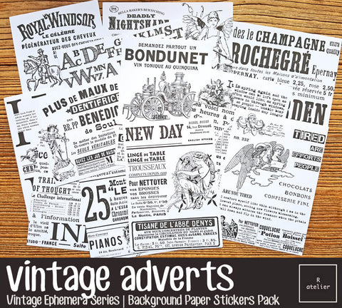 Vintage Monochrome Adverts | Sticker Sheets Pack