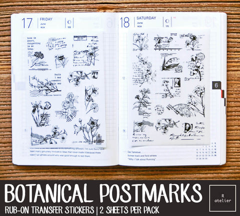 Botanical Postmarks Rub-On Transfer Stickers