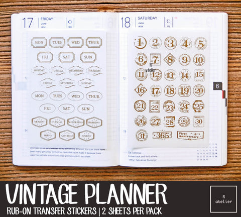 Vintage Gold Foil Planner Rub-On Stickers