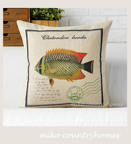 Vintage Fish Illustration | Nautical Inspired | Home Décor Pillow Cover