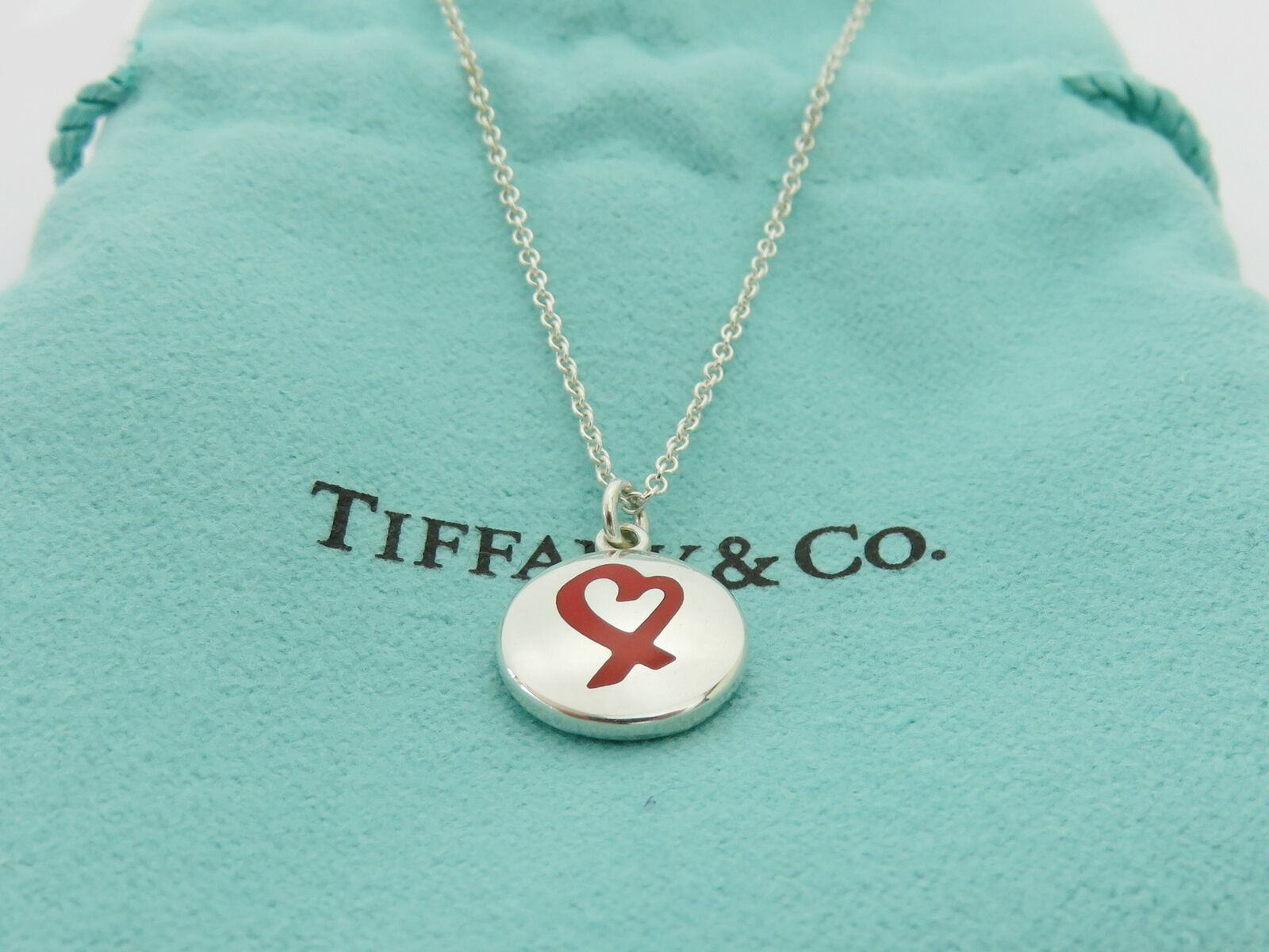 TIFFANY & CO Sterling Silver Filigree Heart Key Hole Pendant Necklace