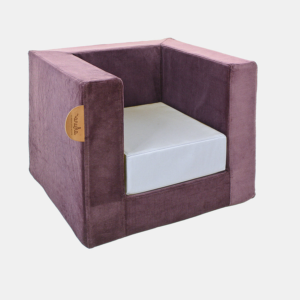 CUBE CHAIR <br> AUBERGINE / BLUE SUCRE