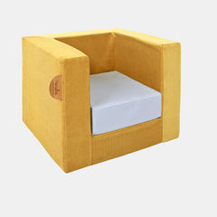 CUBE CHAIR <br> MUSTARD / BLUE SUCRE