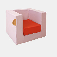 CUBE CHAIR <br> PINK SUCRE / MANDARIN RED