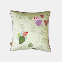 CHIRPING BIRDS CUSHION <br> MOSS GREEN