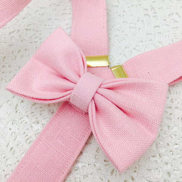 Bow Braces made in Blush Linen