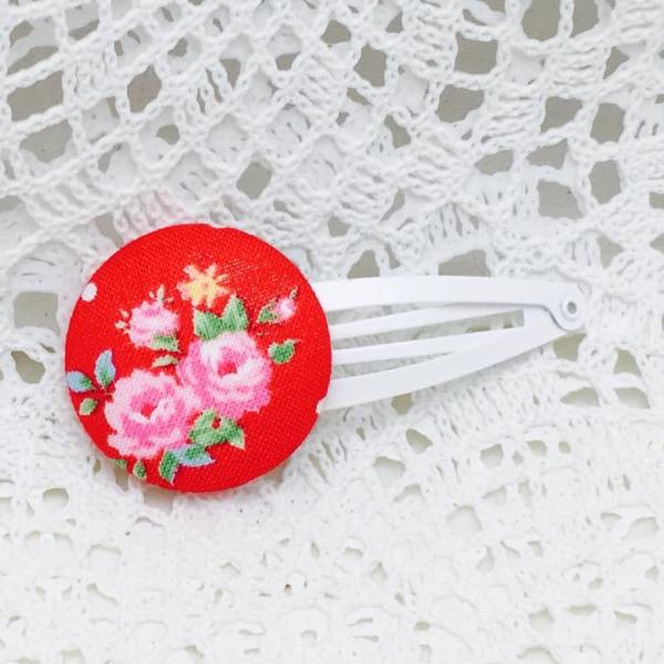 Button Clip ~ Grand  ~ Red Petite Flower Sugar