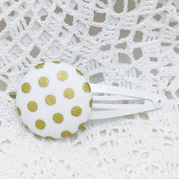Button Clip ~ Grand  ~ White with Gold Spots