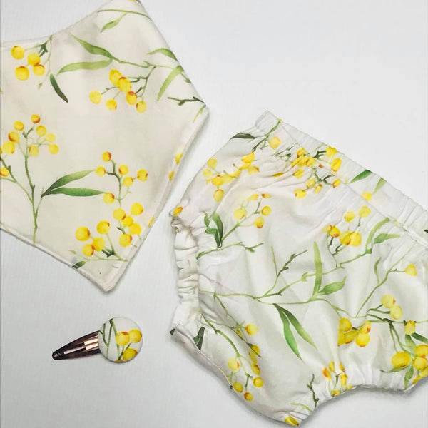 Nappy Cover & Bib Set ~ Wattle for Australia Day