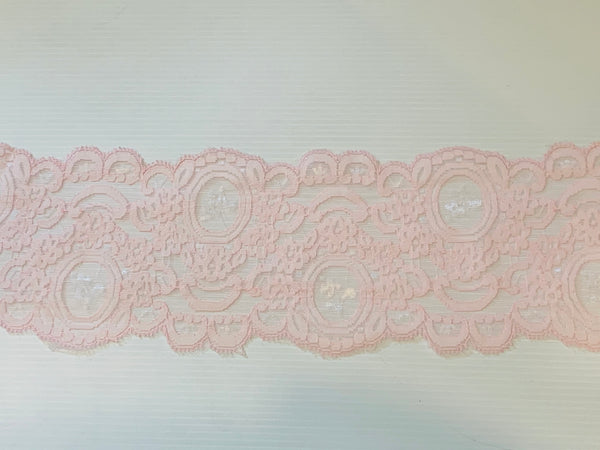 Vintage Baby Pink Nylon Floral Lace