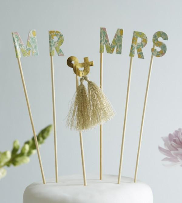 Liberty Mr & Mrs Cake Toppers