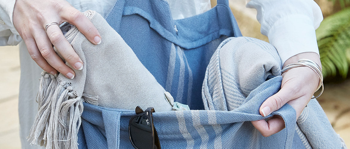 Maxime Blue Linen beach bag