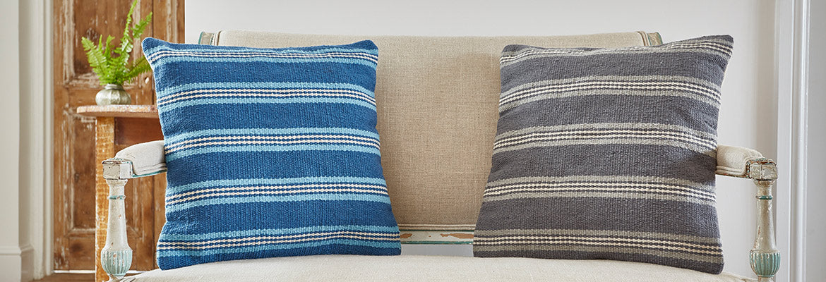 Henley stripe cushions on a bench seat