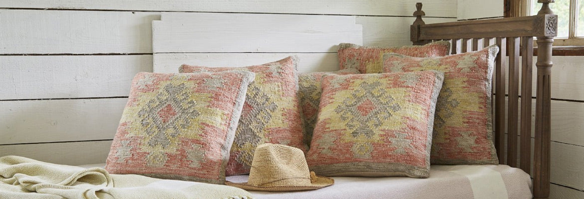 Nomad Tarifa cushions on wooden bed