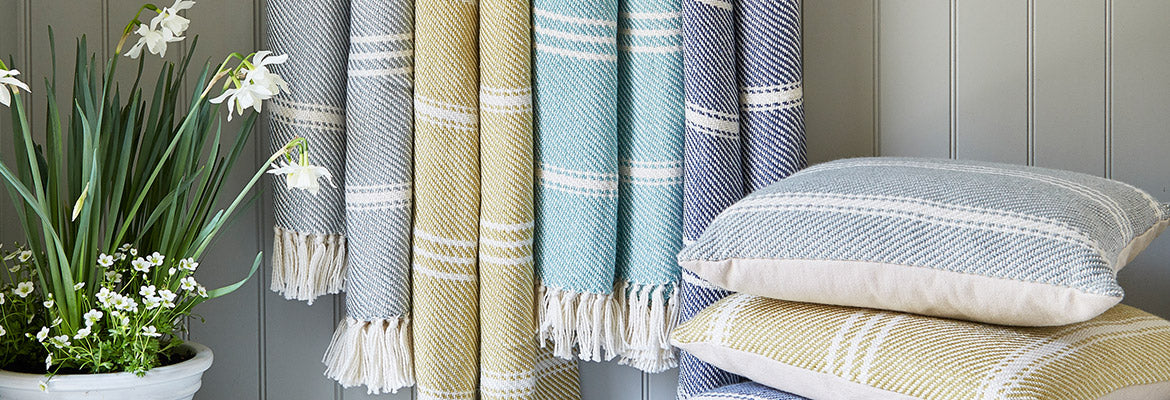 Oxford Stripe blankets and cushions