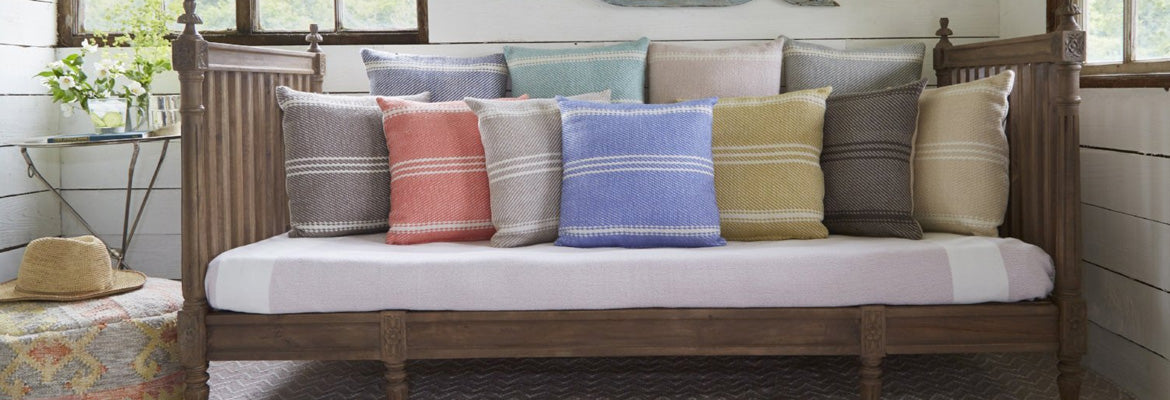 Oxford Stripe cushions on a day bed