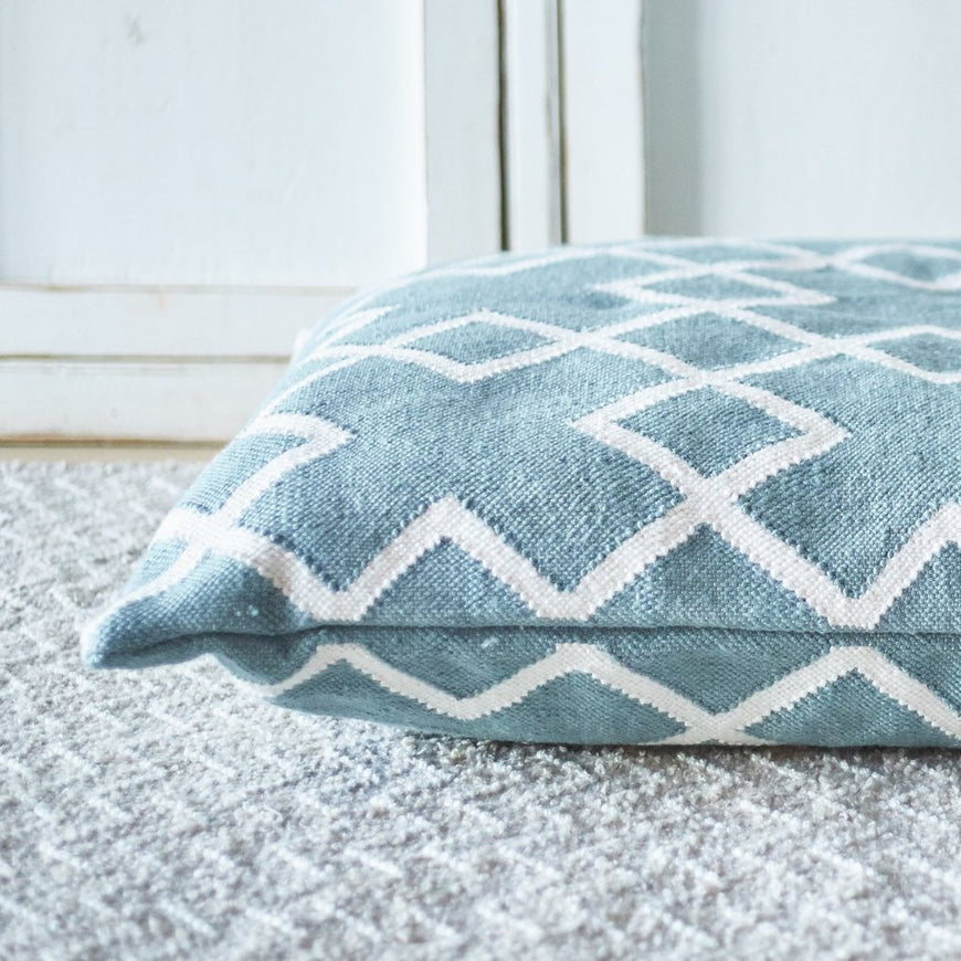 Juno Teal Floor Cushion - close up