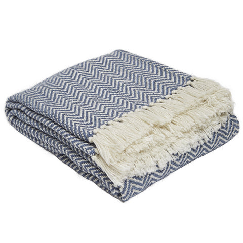 Herringbone Navy Blanket