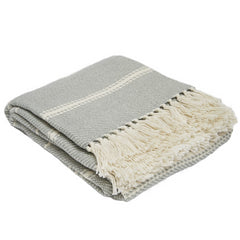 Oxford Stripe Dove Grey Blanket