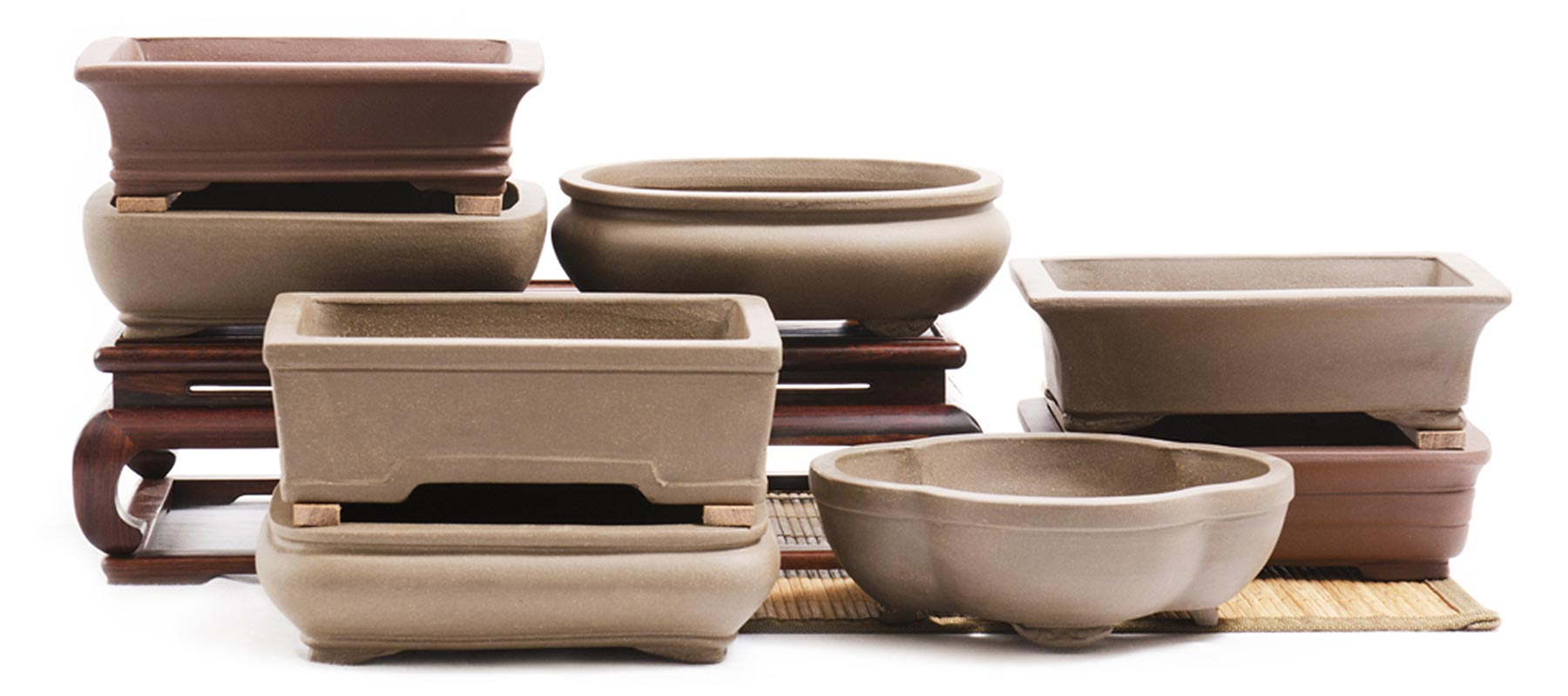 Chinese, Unglazed Ceramic Bonsai Pots