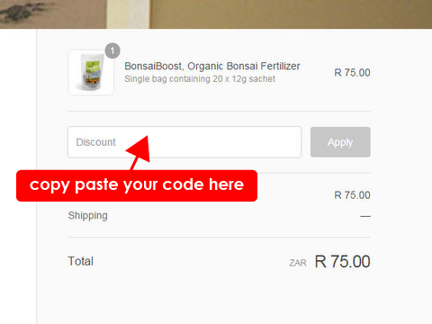 Where to paste your voucher code