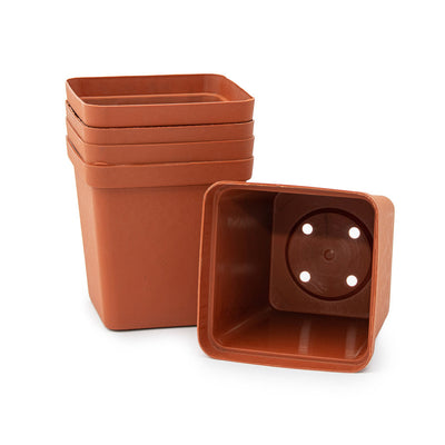 Square Plastic Pot, Terracotta, 9cm -  5Pc Bulk Purchase. 9cm TERRACOTTA plastic square pot - Plastics