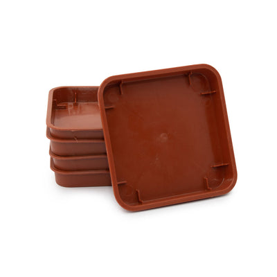 Square Plastic Pot, Terracotta, 9cm -  1Pc. Saucer for TERRACOTTA 9cm pot - Plastics