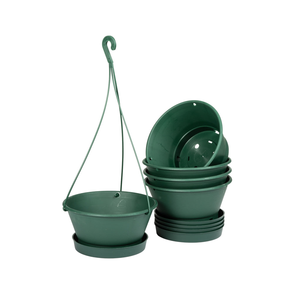 Plastic Hanging Bowls -  5pc BUNDLE, 15cm Hanging Bowl Green - Plastics