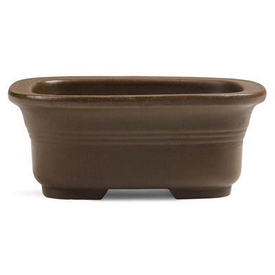 Japanese, Unglazed, Shohin Bonsai Containers -  Rounded Rectangular with Lip, 135 x 110 x 55mm - Pots