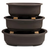 Japanese Deep ,Unglazed, Oval Bonsai Container -   - Pots