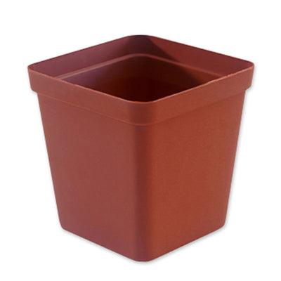 Square Plastic Pot, Terracotta, 9cm -  1Pc. 9cm TERRACOTTA plastic square pot - Plastics