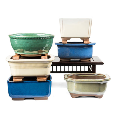 Japanese Glazed Decorative Rectangular Container, 130 x 115 x 55mm -   - Pots