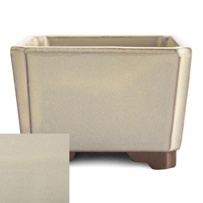 Japanese Glazed Square Container, 100 x 100 x 70mm -  Cream - Pots