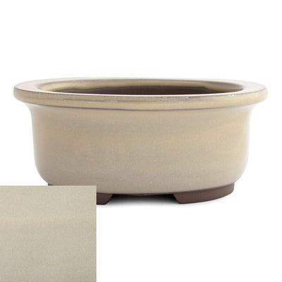 Japanese Glazed Deep Oval Container, 130 x 110 x 55mm -  Cream - Pots