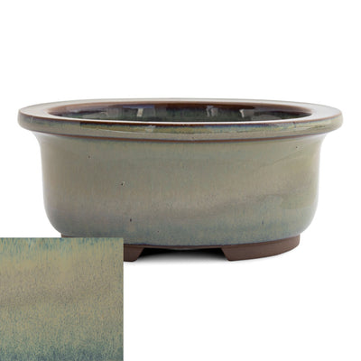 Japanese Glazed Deep Oval Container, 130 x 110 x 55mm -  Hiwa - Pots