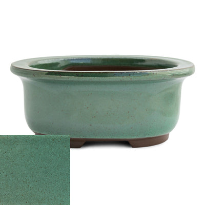 Japanese Glazed Deep Oval Container, 130 x 110 x 55mm -  Oribe - Pots