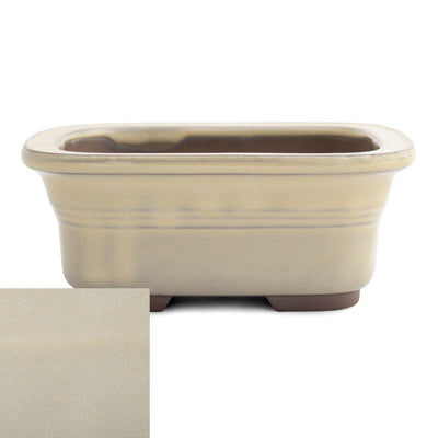 Japanese Glazed Rounded Rectangular Container with Lip, 135 x 110 x 55mm -  Cream - Pots