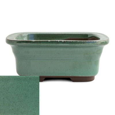 Japanese Glazed Rounded Rectangular Container with Lip, 135 x 110 x 55mm -  Oribe - Pots