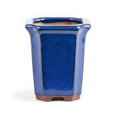 Assorted Glazed Cascade Pots, 9 x 9 x 10cm -  Blue Square, Indented Corners - Pots