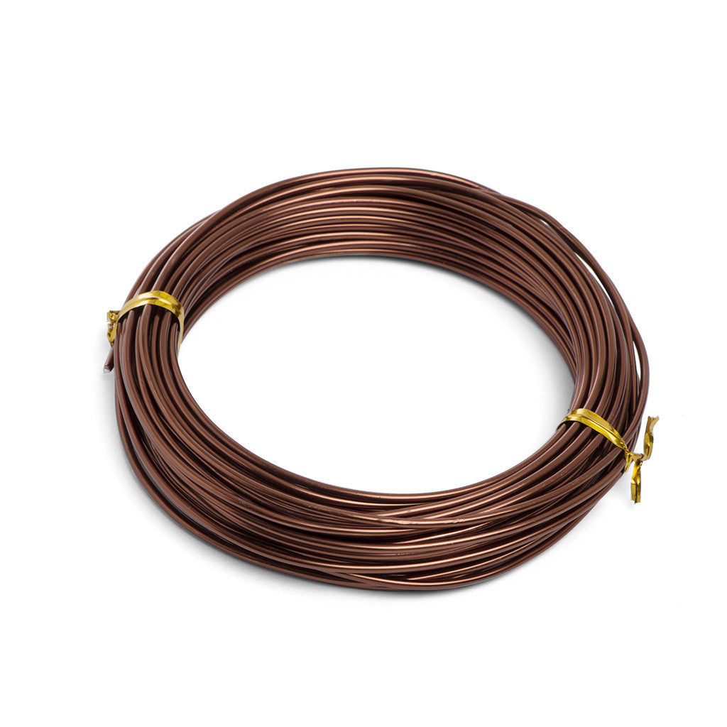 2mm, Anodized aluminium wire -  2mm, 100gm Brown aluminium wire (11.7m) - Wire