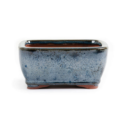 "Assorted Glazed Bonsai Pots, 5"" -  Dark Moss Blue Rectangle, 11.5 x 9 x 5.5cm - Pots"