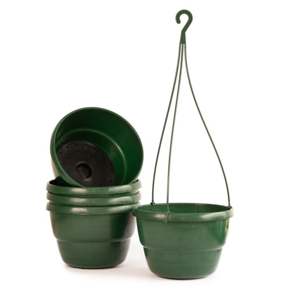 Integral Plastic Hanging Bowls -  5pc BUNDLE, 17cm Hanging Bowl Green, SMALL - Plastics