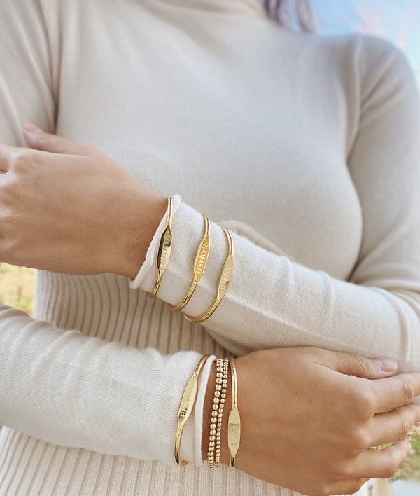 Chubby Mantra Cuffs - Gold