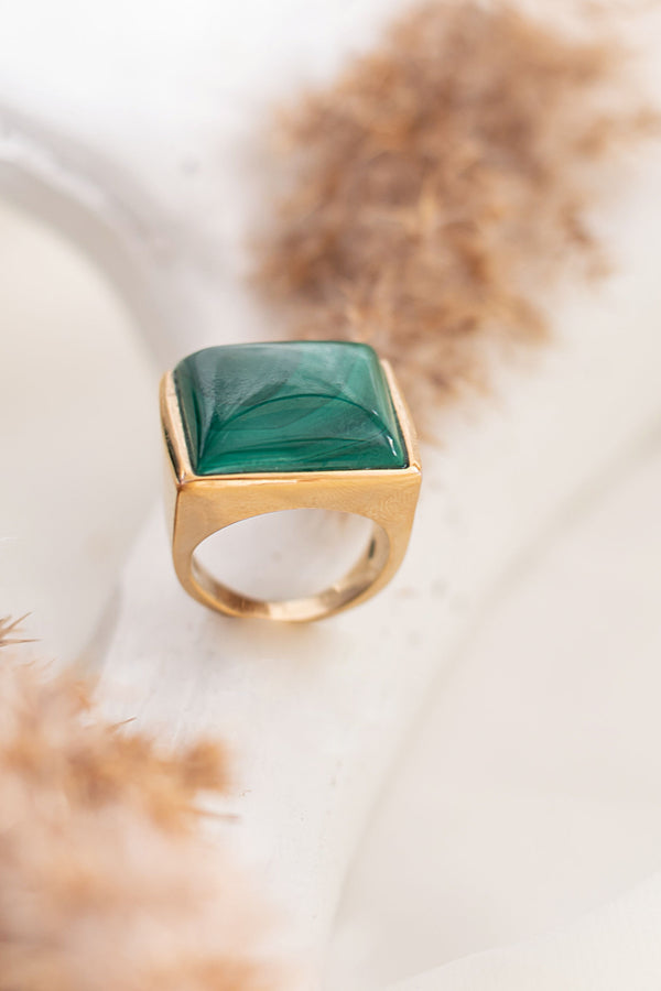 STELLA DOMED MALACHITE Stone Ring